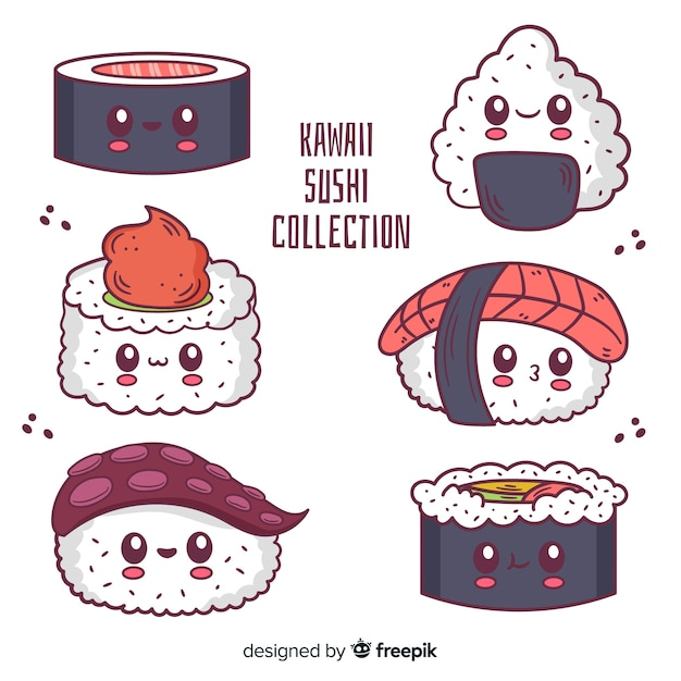 Hand getrokken sushi kawaii pack Gratis Vector