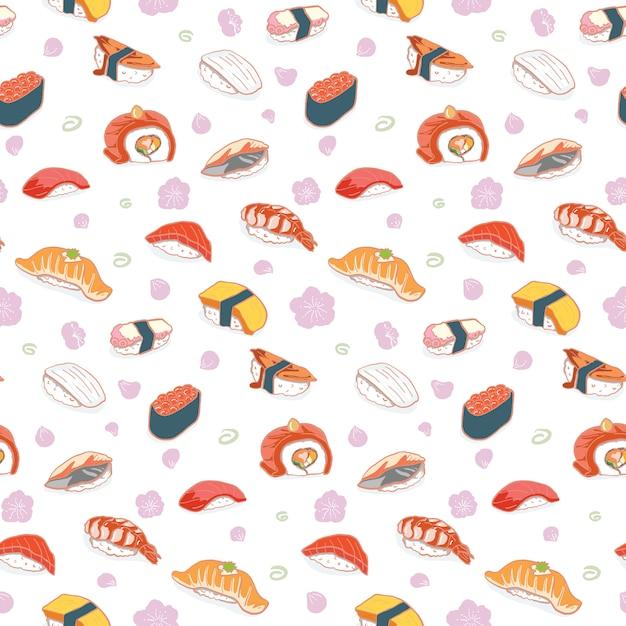 Hand getrokken sushi naadloze patroon Premium Vector