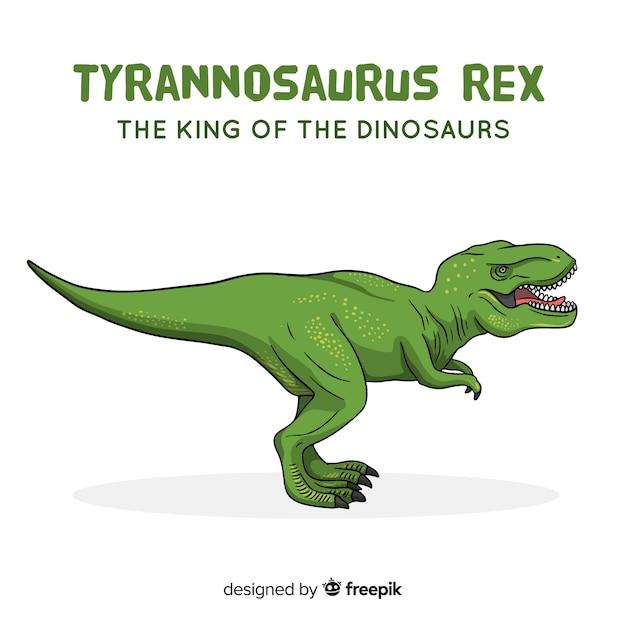Hand getrokken t-rex achtergrond Gratis Vector