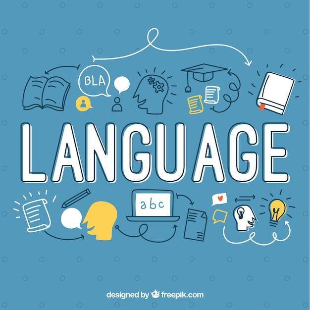 Hand getrokken taal woord concept Gratis Vector