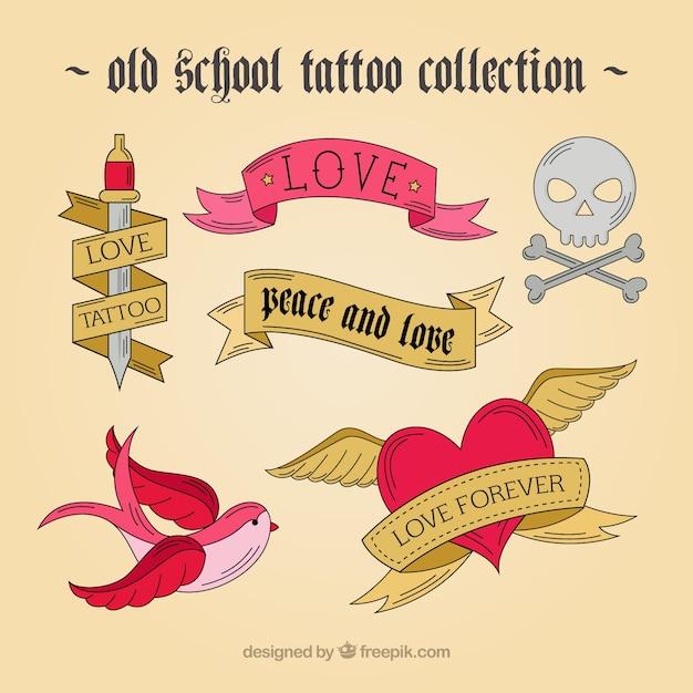 Hand getrokken tatoeages in vintage design Gratis Vector