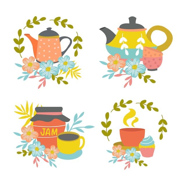 Hand getrokken tea time-composities Gratis Vector