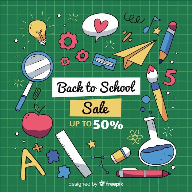 Hand getrokken terug naar school verkoop Gratis Vector