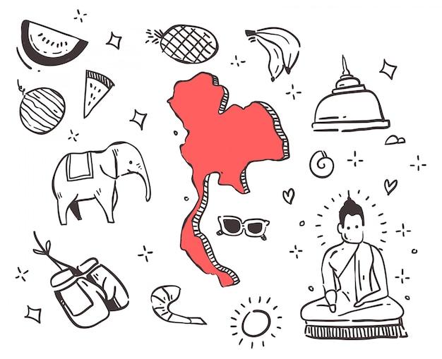 Hand getrokken thaise doodle Premium Vector