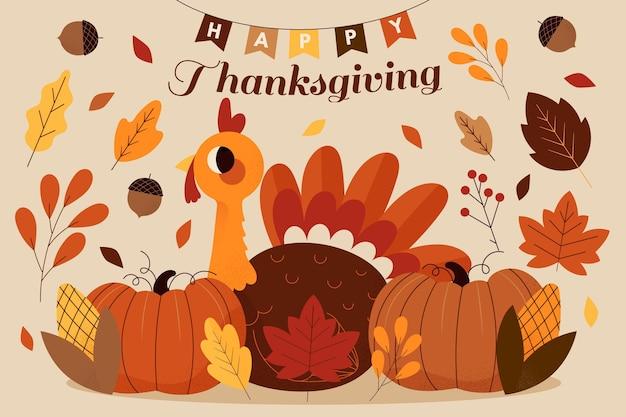 Hand getrokken thanksgiving achtergrond Gratis Vector