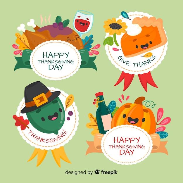 Hand getrokken thanksgiving badge collectie Gratis Vector