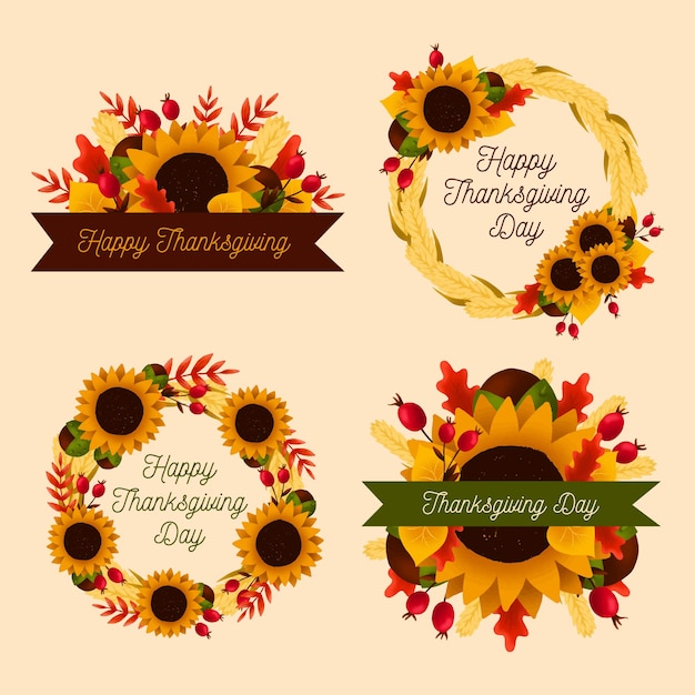 Hand getrokken thanksgiving badge collectie Gratis Vector