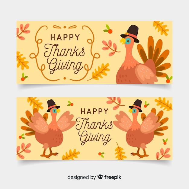 Hand getrokken thanksgiving banners sjabloon Gratis Vector
