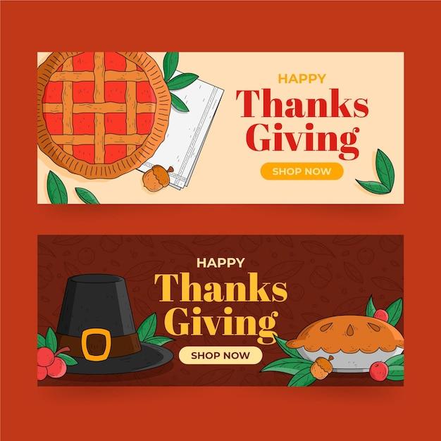Hand getrokken thanksgiving banners Gratis Vector