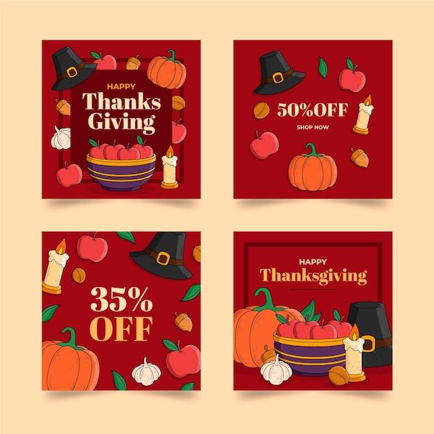 Hand getrokken thanksgiving instagram-berichten Gratis Vector