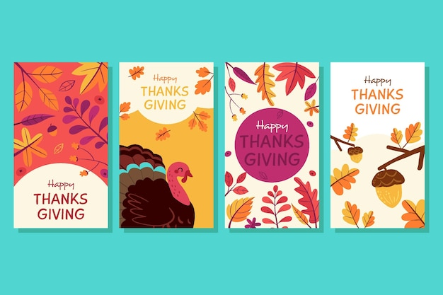 Hand getrokken thanksgiving instagram verhalencollectie Gratis Vector