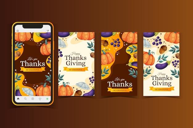 Hand getrokken thanksgiving instagramverhalen Gratis Vector