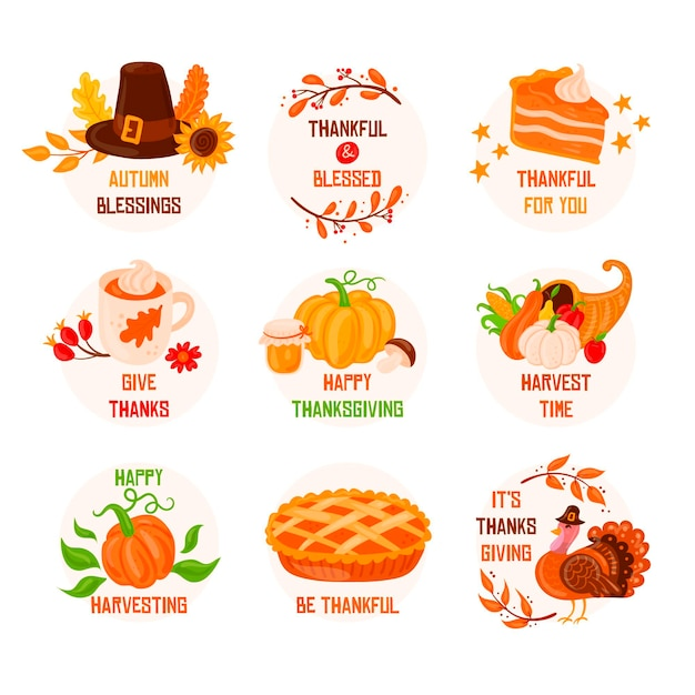 Hand getrokken thanksgiving label collectie Gratis Vector