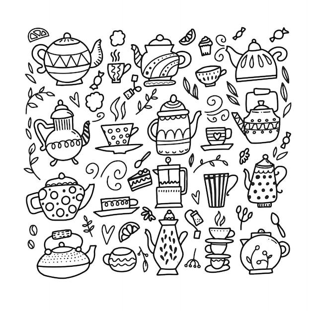 Hand getrokken theepot en beker collectie. doodle theekopjes, koffiekopjes en theepotten Premium Vector