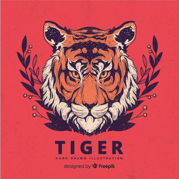 Hand getrokken tijger achtergrond Gratis Vector