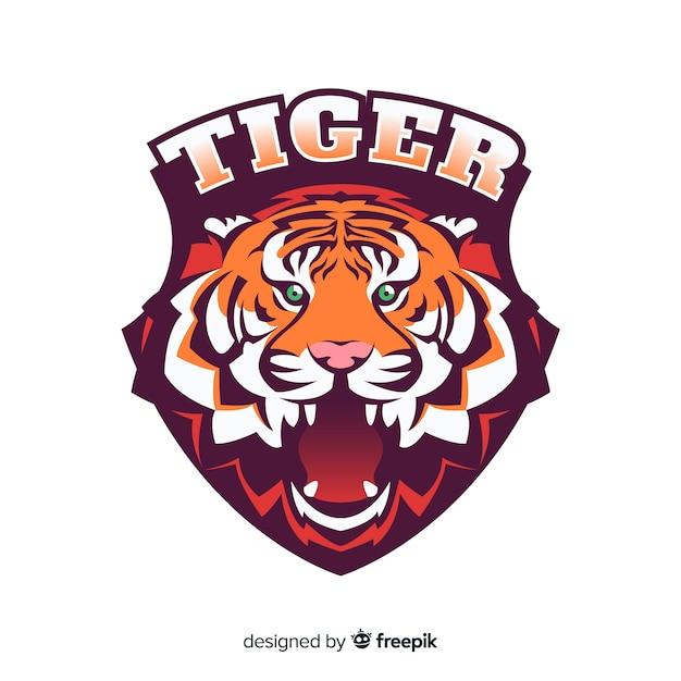 Hand getrokken tijger logo achtergrond Gratis Vector