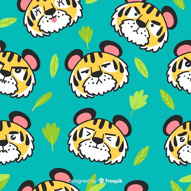 Hand getrokken tijger patroon achtergrond Gratis Vector