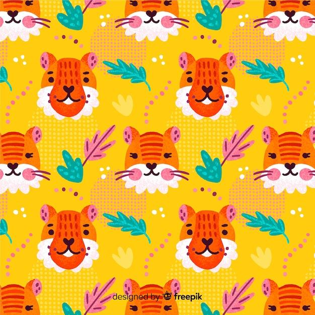 Hand getrokken tijger patroon Gratis Vector