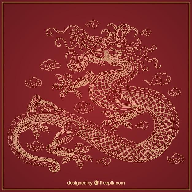 Hand getrokken traditionele chinese draak Gratis Vector