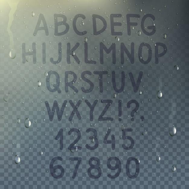 Hand getrokken transparant alfabet op misted glassamenstelling met dalingen van regen op de venster vectorillustratie Premium Vector