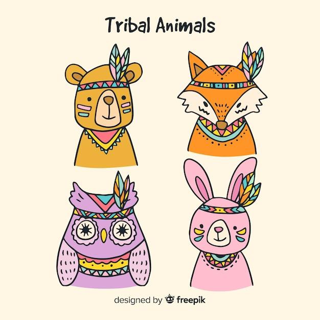 Hand getrokken tribal dieren-collectie Gratis Vector