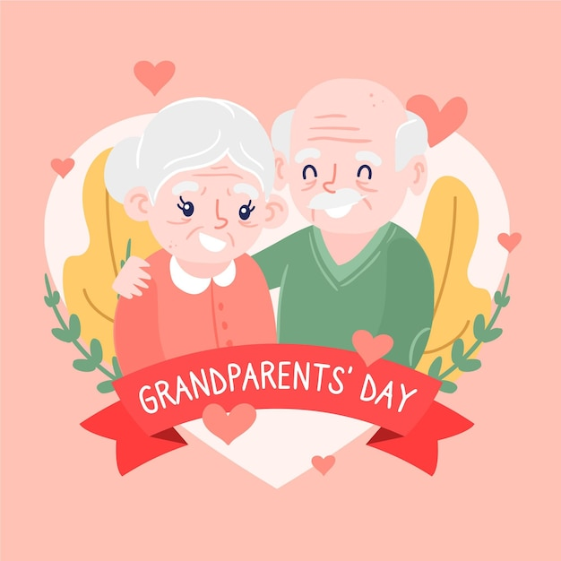 Hand getrokken usa nationale grootouders dag concept Gratis Vector