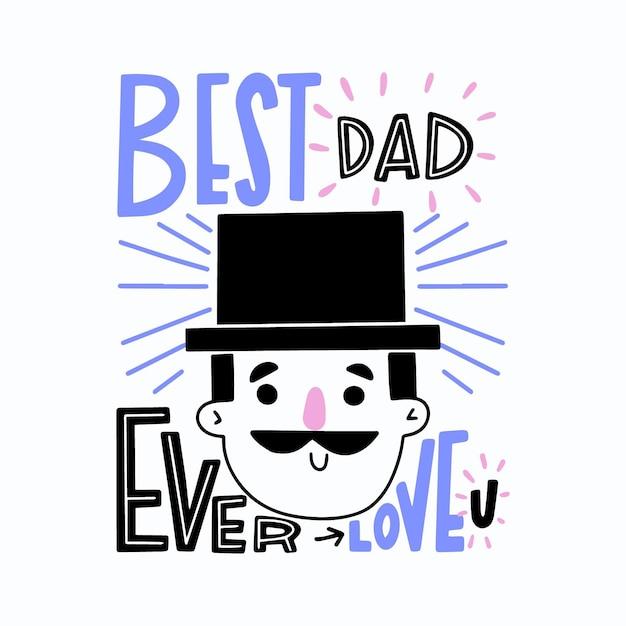 Hand getrokken vaderdag met hoed en snor Gratis Vector