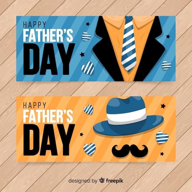 Hand getrokken vaders dag banners Gratis Vector