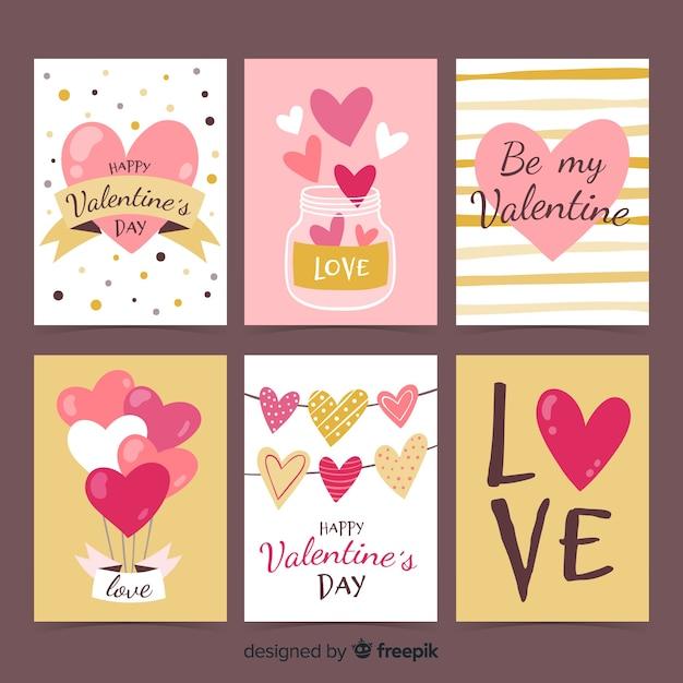Hand getrokken valentijn kaart pack Gratis Vector