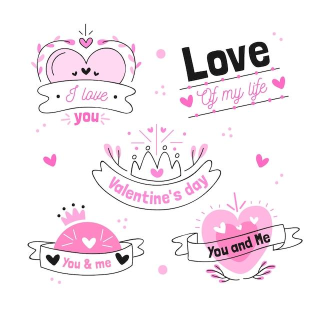 Hand getrokken valentijnsdag badge collectie Gratis Vector