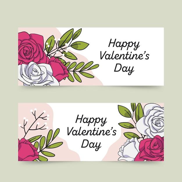 Hand getrokken valentijnsdag banner en bloemen Gratis Vector