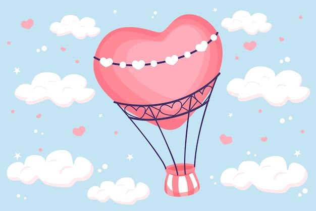 Hand getrokken valentijnsdag behang met hete luchtballon Gratis Vector