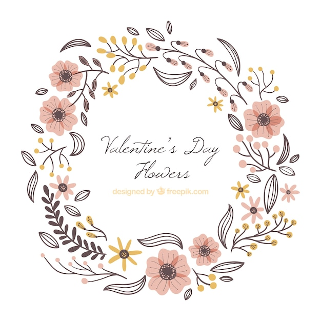 Hand getrokken valentijnsdag bloemen frame Gratis Vector