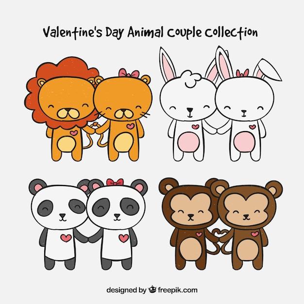 Hand getrokken valentijnsdag dierlijk paar collectie Gratis Vector