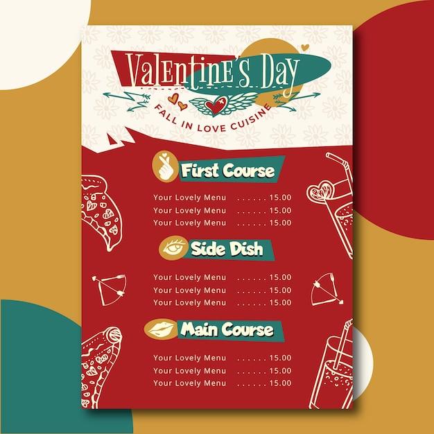 Hand getrokken valentijnsdag menusjabloon Gratis Vector