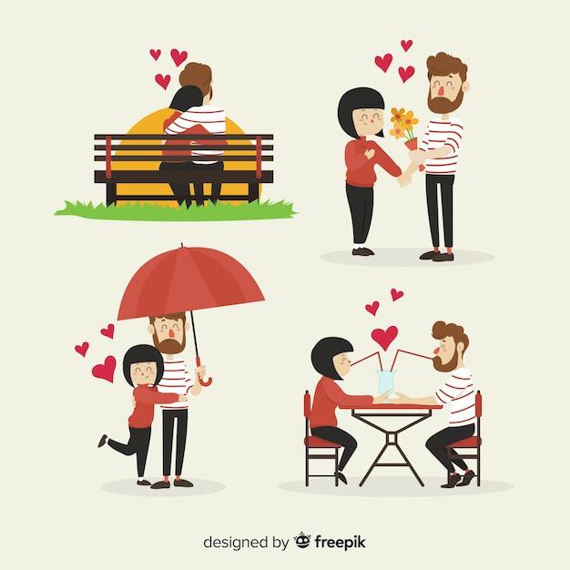Hand getrokken valentijnsdag paar activiteiten pack Gratis Vector