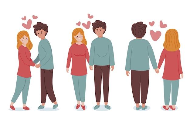 Hand getrokken valentijnsdag paar set Gratis Vector
