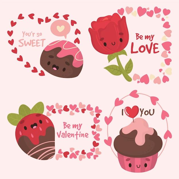 Hand getrokken valentijnsdag partij badge sjabloon Gratis Vector
