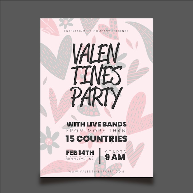 Hand getrokken valentijnsdag partij flyer / poster sjabloon Gratis Vector