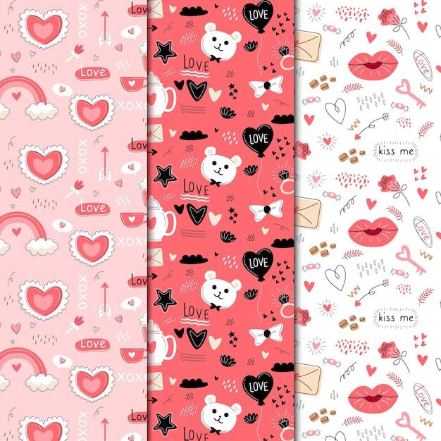 Hand getrokken valentijnsdag patroon collectie Gratis Vector
