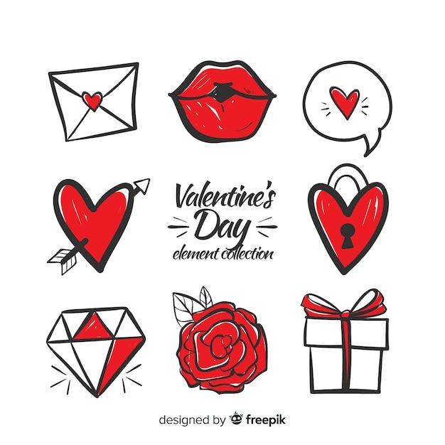 Hand getrokken valentine elementen pack Gratis Vector