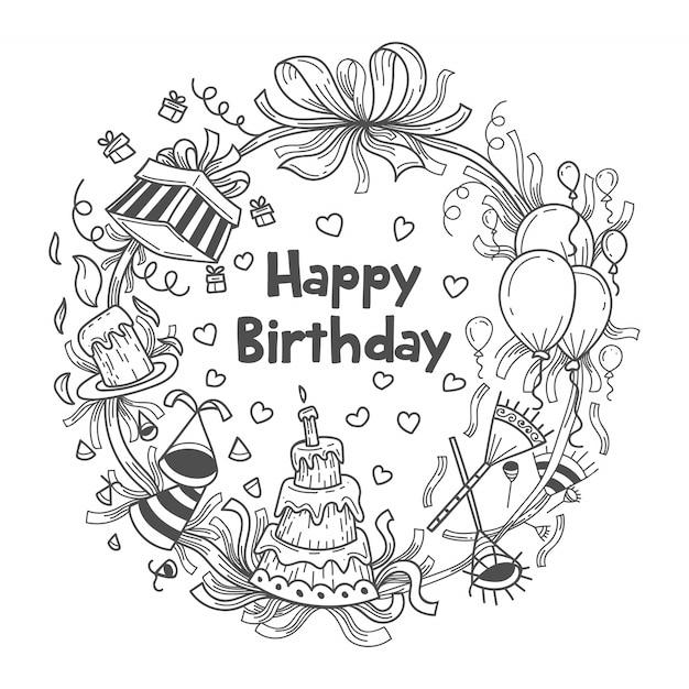 Hand getrokken van verjaardagscadeaus illustratie als achtergrond Premium Vector