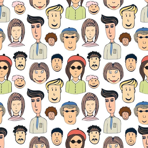 Hand getrokken vector naadloze patroon met menigte van grappige arbeidersvolken. doodle gezichten achtergrond Premium Vector