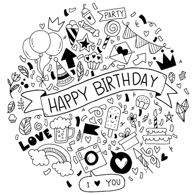 Hand getrokken vectorillustratie happy birthday ornaments uit de vrije hand getrokken doodle elementen partij Premium Vector