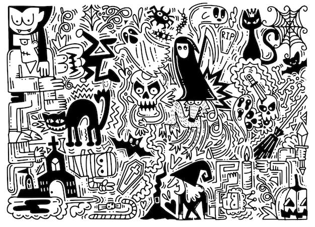 Hand getrokken vectorillustratie van doodle halloween-achtergrond Premium Vector