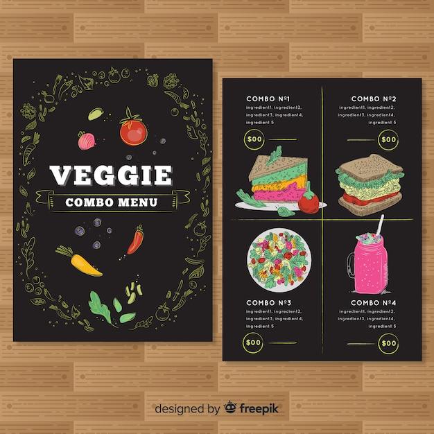 Hand getrokken veggie restaurant menusjabloon Gratis Vector
