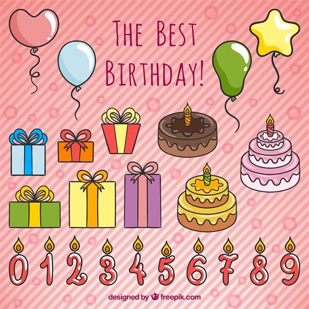 Hand getrokken verjaardag decoratie vector gratis download for Decoratie verjaardag