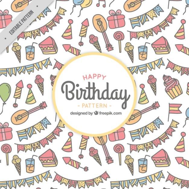 Hand Getrokken Verjaardag Dingen Patroon Vector Gratis Download