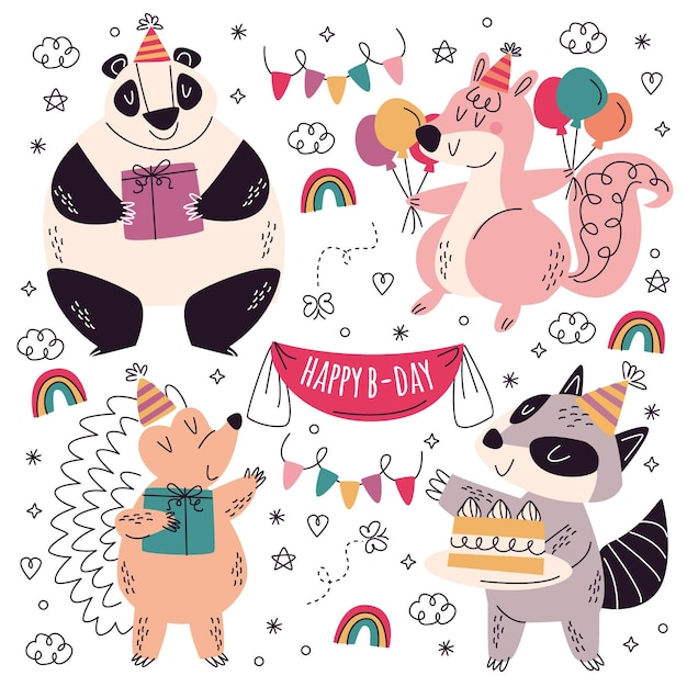 Hand getrokken verjaardag stickers collectie Gratis Vector