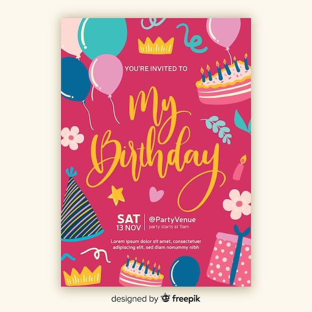 Hand getrokken verjaardag uitnodiging sjabloon Gratis Vector